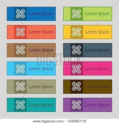 Adhesive Plaster Icon Sign. Set Of Twelve Rectangular, Colorful, Beautiful, High-quality Buttons For