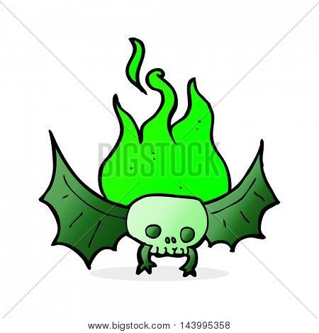 cartoon spooky skull bat