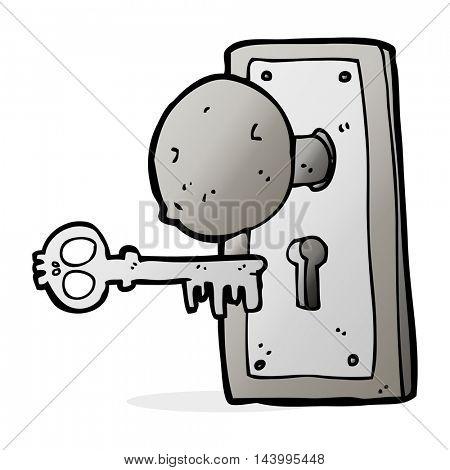cartoon spooky old door knob