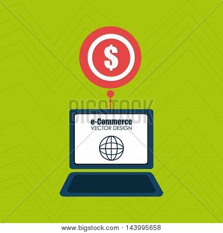 laptop shopping online buy vector illustration eps 10