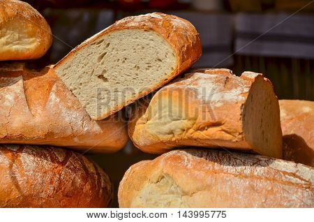 Market selling traditional Polish bread during annual St. Dominics Fair