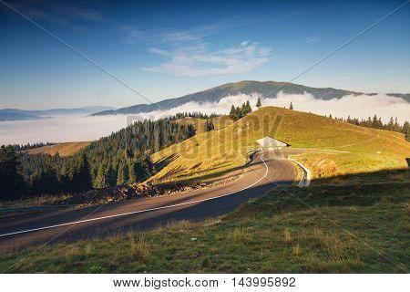 Beautiful summer sunrise in Rarau Mountains, Bucovina - Romania