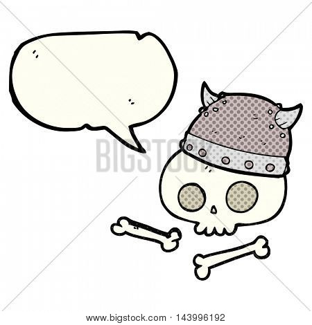 freehand drawn comic book speech bubble cartoon viking helmet on skull