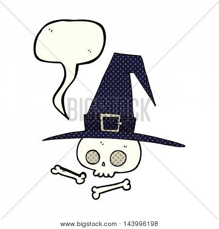 freehand drawn comic book speech bubble cartoon witch hat with skull