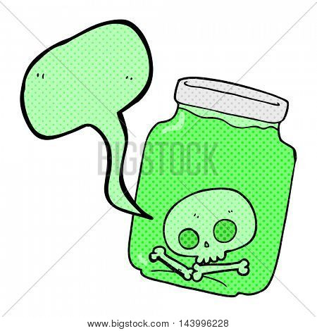 freehand drawn comic book speech bubble cartoon jar with skull