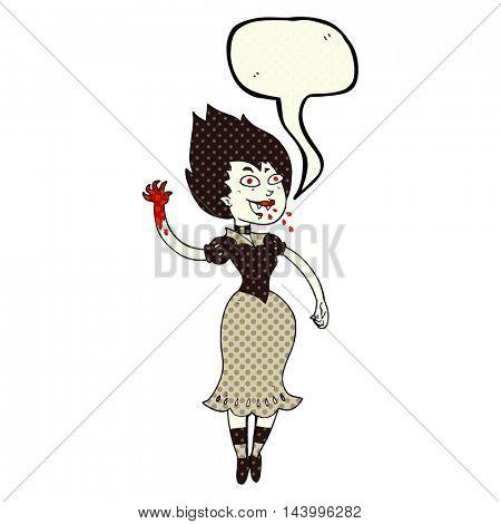 freehand drawn comic book speech bubble cartoon blood sucking vampire girl