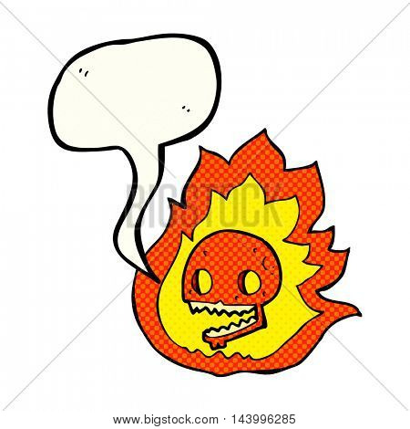 freehand drawn comic book speech bubble cartoon burning skull