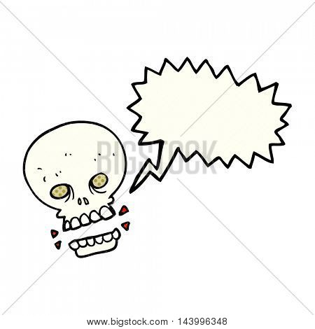 freehand drawn comic book speech bubble cartoon scary skull