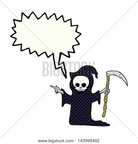 freehand drawn comic book speech bubble cartoon death with scythe