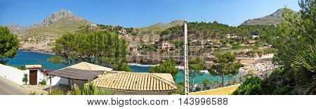 Bay Cala Molins in Cala Sant Vicenc Majorca Spain - panorama view