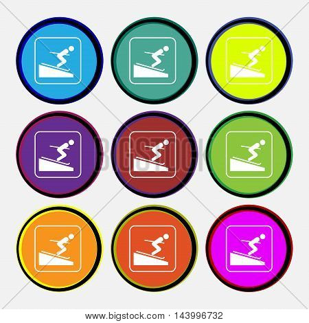 Skier Icon Sign. Nine Multi Colored Round Buttons. Vector