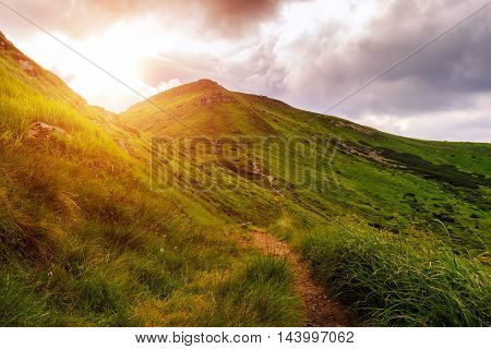 Picturesque Carpathian mountains landscape sun over mount evening time Ukraine