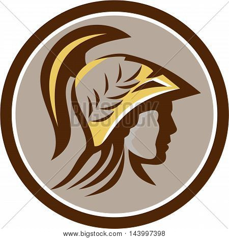 Illustration of Minerva or Menrva the Roman goddess of wisdom and sponsor of arts trade and strategy head wearing helmet with laurel crown viewed from side set inside circle done in retro style.