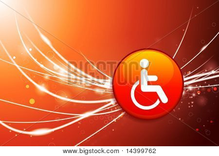 Handicapped Button on Red Abstract Light Background Original Illustration
