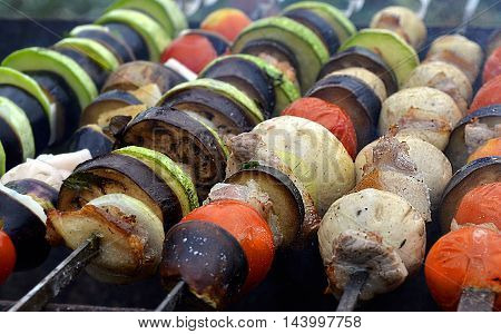 fresh marinated vegetables and mushrooms grilled with bacon