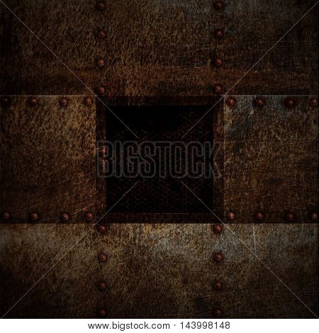 grunge metal plate and grid window on spotlight. 3d illustration. background and texture.