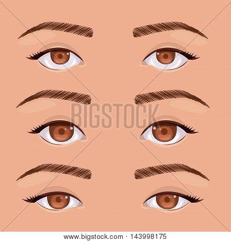set eyes human pop art isolated vector illustration design