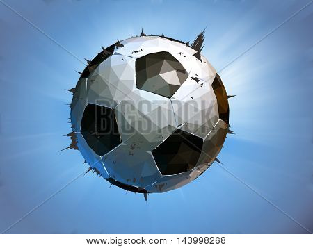 Polygonal soccer ball impact to the screen on blue background