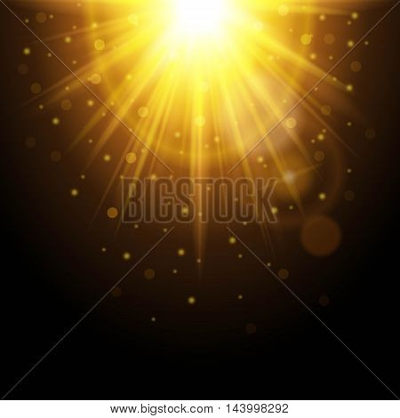 Magic background with rays of light glowing light effect. Yellow sunshine with sparkles on a dark background. Vector illustration.