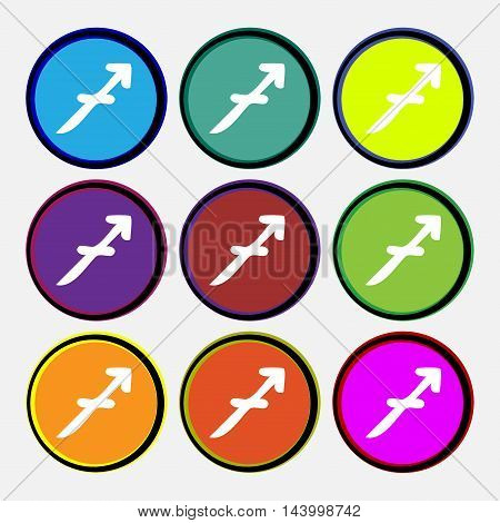 Sagittarius Icon Sign. Nine Multi Colored Round Buttons. Vector