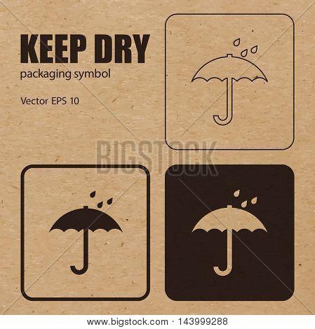 Keep Dry vector packaging symbol on vector cardboard background. Handling mark on craft paper background. Can be used on a box or packaging. Vector EPS 10.