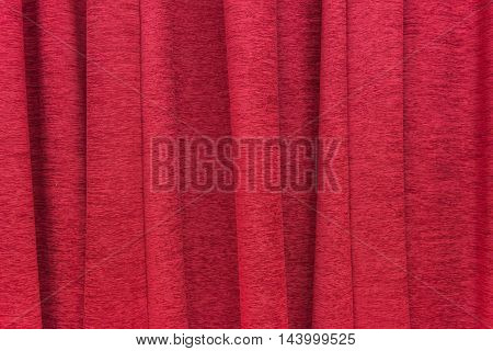 Red Curtain Slightly In The Comfortable Room