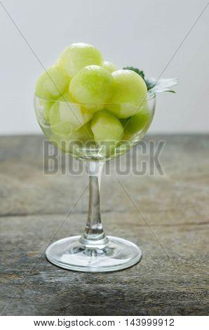 Green Cantaloupe Melon In Glass