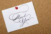foto of thank you card  - Bulletin board with thank card and copy space for your personalized message - JPG