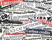 image of environmental pollution  - Illustration of newspaper headlines on an environmental theme - JPG