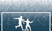 Постер, плакат: Иллюстрация ликующие толпы наблюдая штрафной удар в футбольном матче
