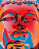 Editable vector illustration of a Buddha statue's face in popart color style poster