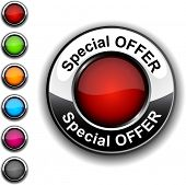Special offer realistic button. Vector.