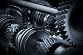 Motor, engine close-up. Gears, cogwheels, real engine elements background. Heavy industry. 3D render poster