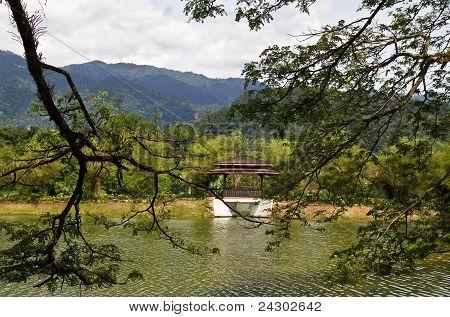 peeking to lakeside gazebo