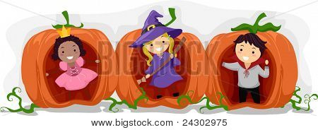 Illustration of Kids Playing inside Hollow Pumpkins