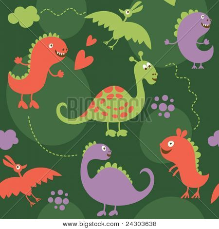 seamless pattern with cartoon dinosaurs