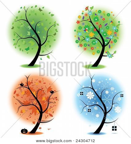 Four seasons - spring, summer, autumn, winter Art trees