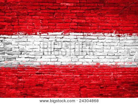 Austria Flag Painted On Wall