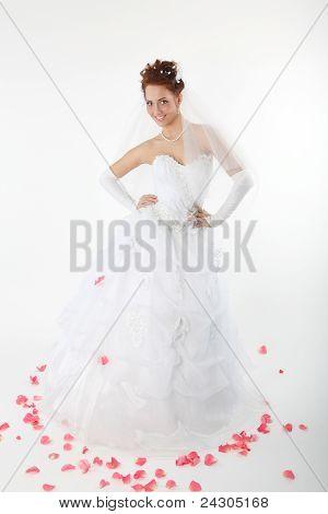 Beautiful Bride In A White Dress