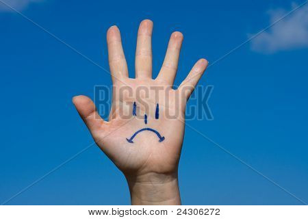 Human Palm With Sorrow Pattern