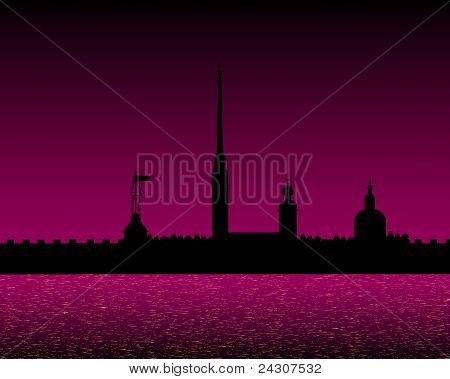 Silhouette of Peter and Paul fortress at night