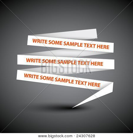 Vector white speech bubble made from paper on dark background