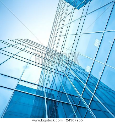 perfect blue glass high-rise corporate building