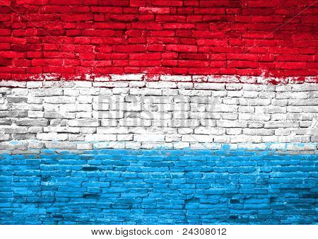 Luxemburg Flag Painted On Wall