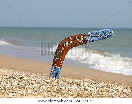 Boomerang On Sandy Beach.
