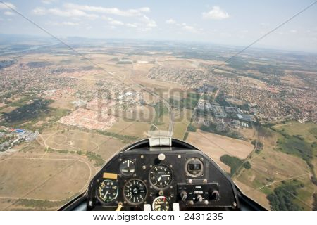Inside View Of Glider Looping, Focus On The Ground