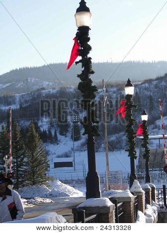 Christmas Lamp Posts And Wrought Iron Fence And Bare Winter Cottonwoods