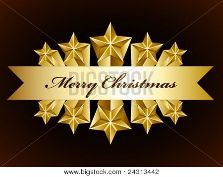 vector golden merry christmas stars label