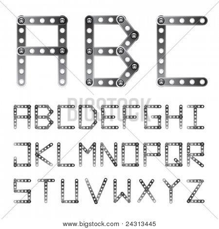 vector metal screwed alphabet font