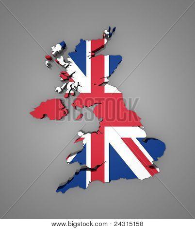 Map of UK - 3d render